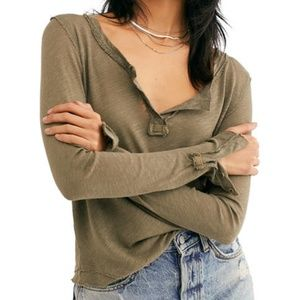FREE PEOPLE | Hazy Day Henley Long Sleeve Army Sm
